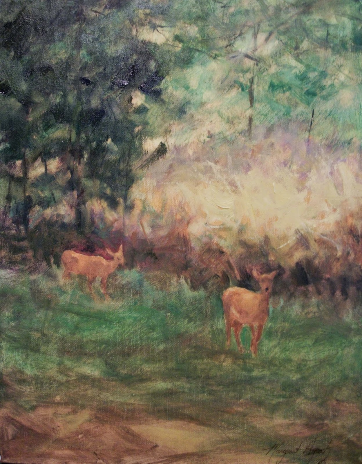 deer in the woods painting pdf