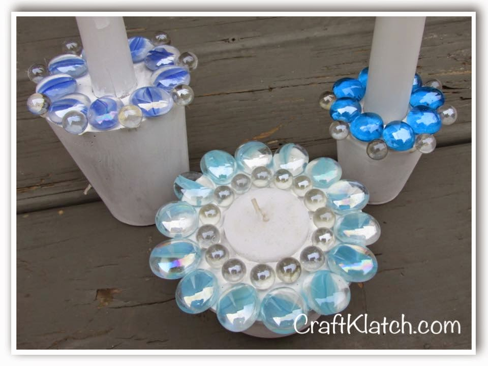 Craft klatch easy beachy concrete candleholders diy for Craft cement mix