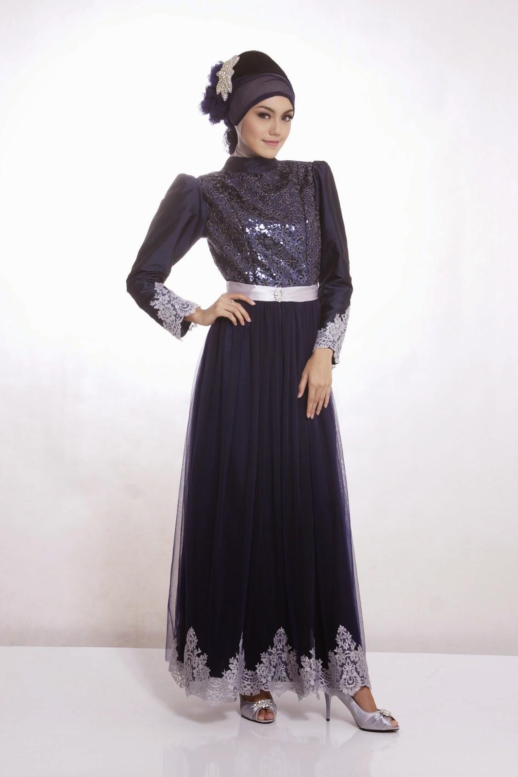 gaun pesta muslim hitam