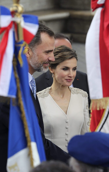 Segolene Royal, French Minister of Ecology, Sustainable Development and Energy with Queen Letizia of Spain arrives prior to a meeting at the Elysee Palace