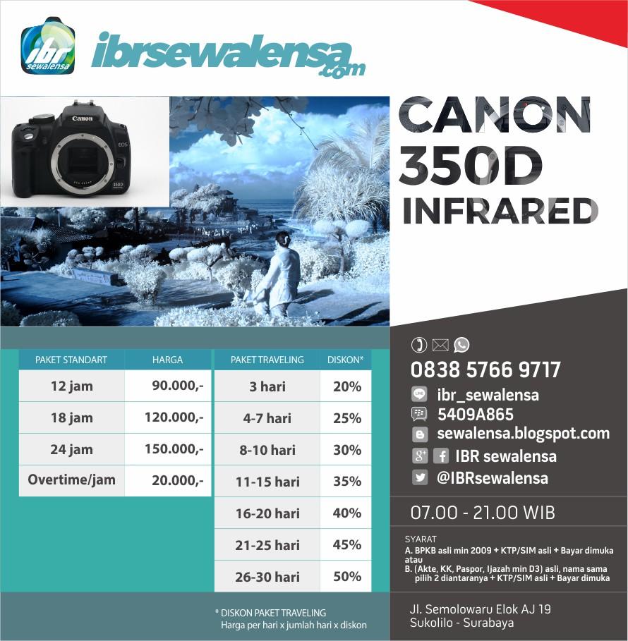 Harga sewa kamera Canon 350 D Full Infrared