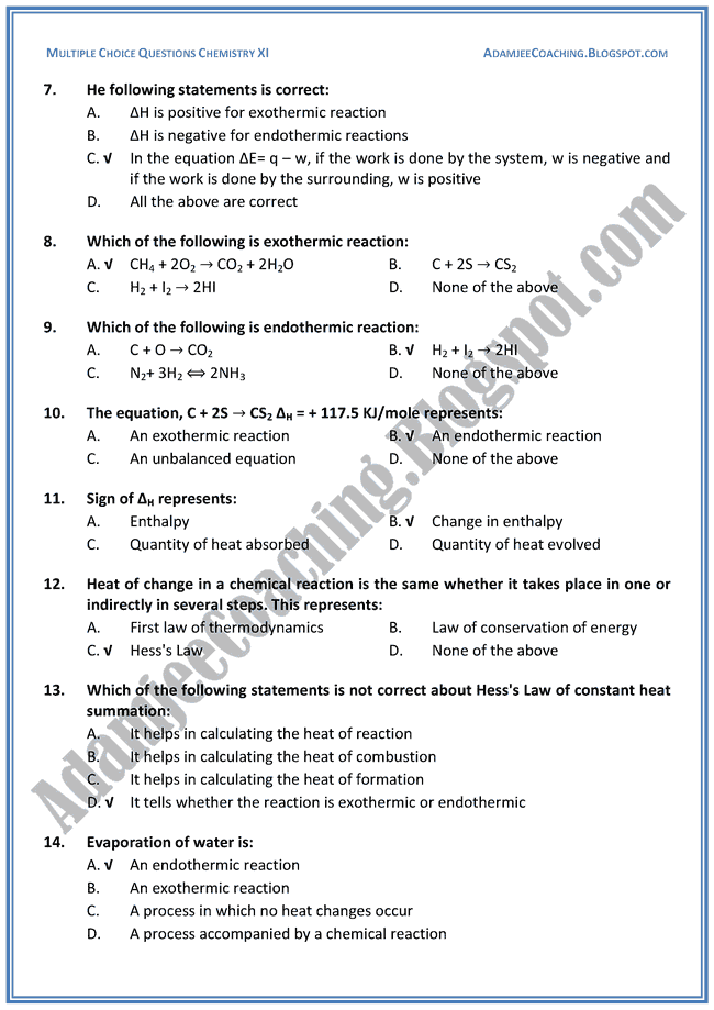 XI Chemistry MCQs - Energetics Of Chemical Reaction