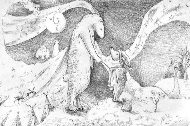 Ёжик и Медвежонок – иллюстрация к сказке. Автор рисунка: Надя Моргунова