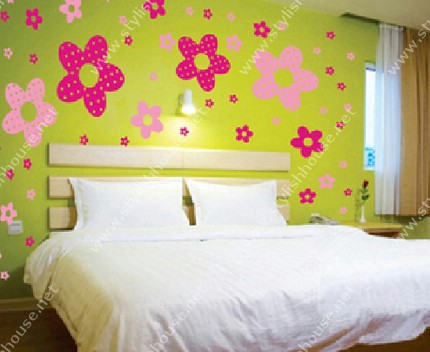 Pretty flowers wall stickers for bedroom walls