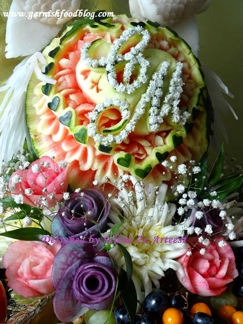monogram watermelon carving design