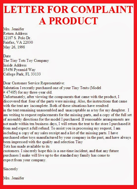 Example Of A Product Complaint Letter Letter Of Complaint – Product Complaint Letter Sample