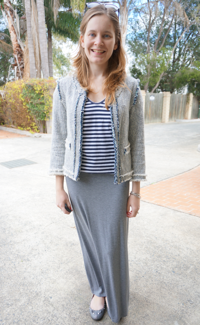 tweed jacket, stripe tee, grey maxi skirt, studded mouse flats