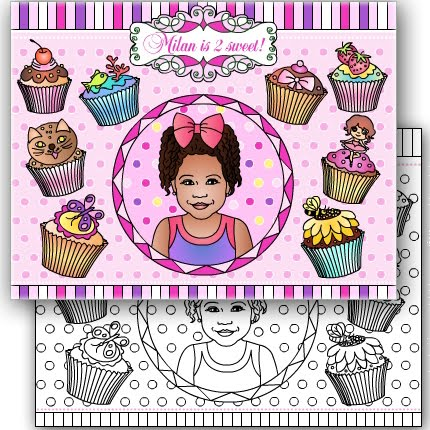 NEW * CUPCAKES THEME * PARTY COLORING PAGE