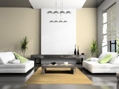foto de sala moderna color blanco y verde suave