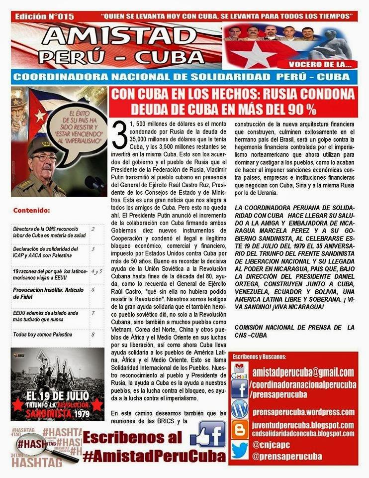 "BOLETÍN N°015 ""AMISTAD PERÚ CUBA"""