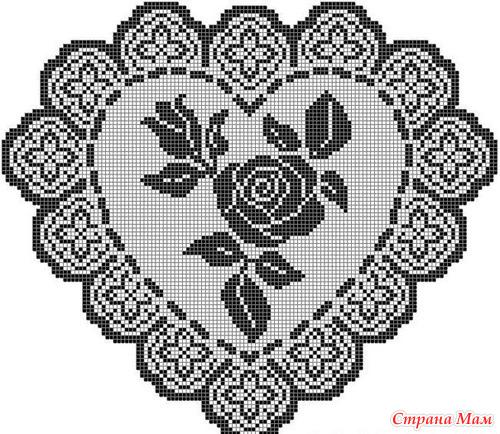 Филейное вязание роза схема
