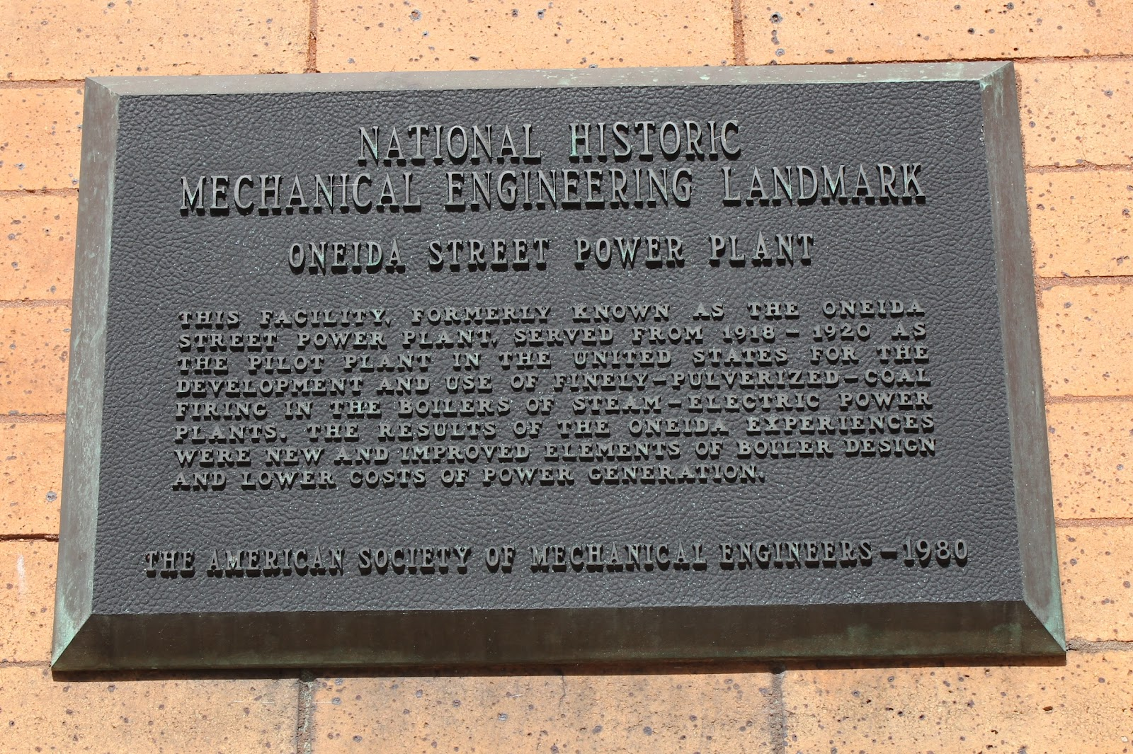Wisconsin Historical Markers: [East Wells] Oneida Street Power Plant