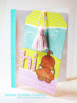 clear Kitty card by Danielle Pandeline using Newton's Antics stamp set