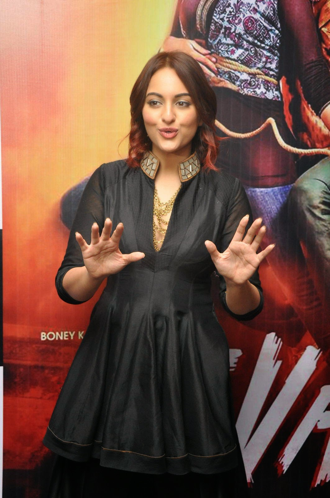 Actress Sonakshi Sinha Latest Cute Hot Beautiful Black Dress Spicy Photos Gallery At Tevar Movie Promotion In Hyderabad