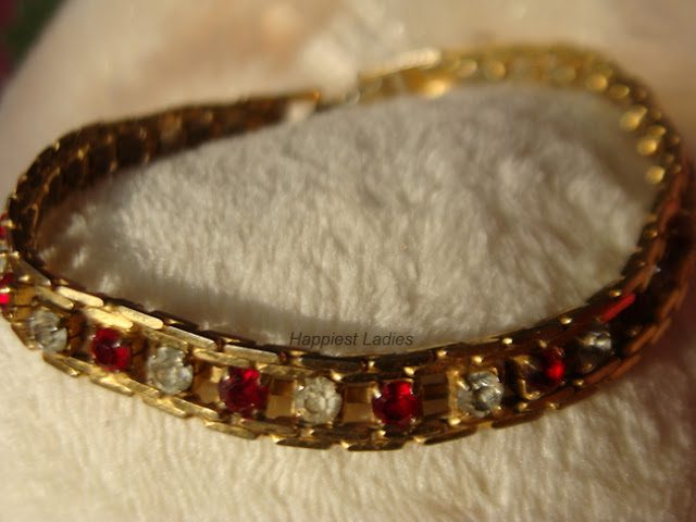 white red stone studded bracelet+american diamonds