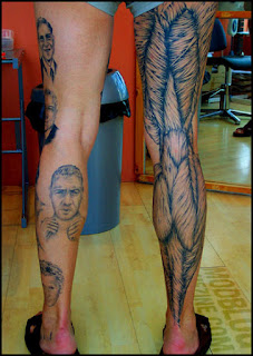 anatomical tattoo on the leg
