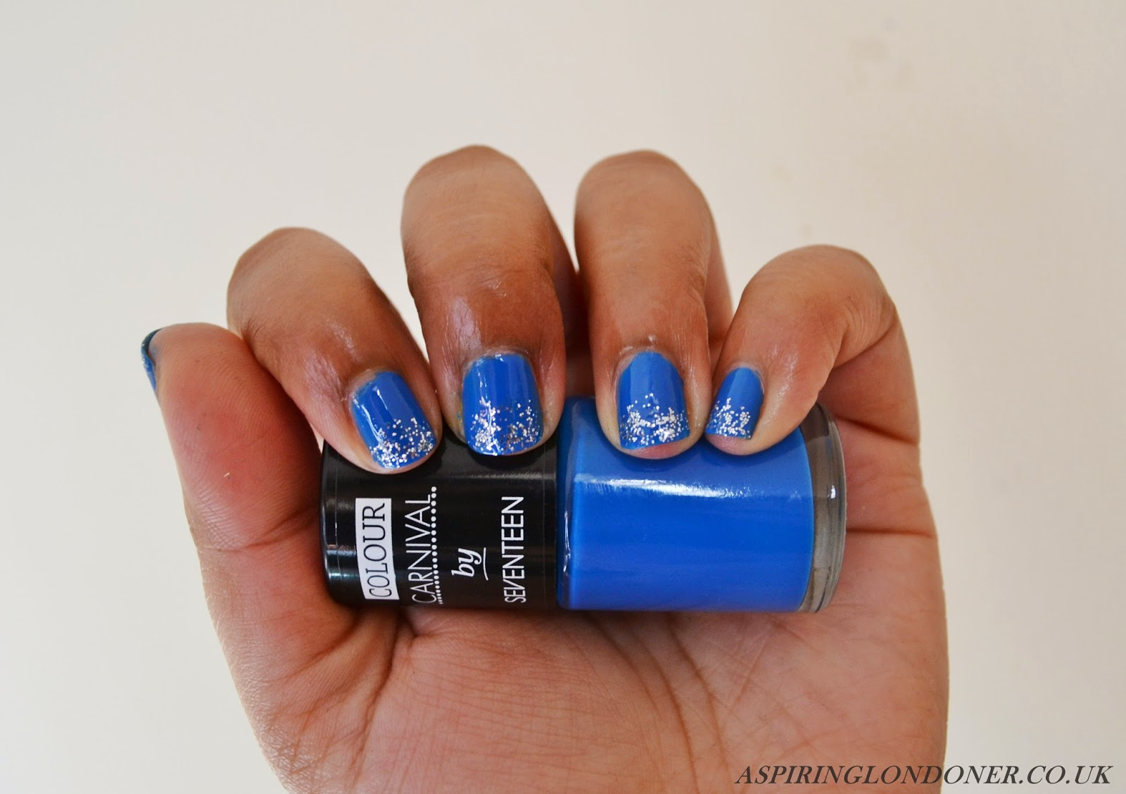 Seventeen Colour Carnival Nail Polish in Blue & Silver Glitter Swatch - Aspiring Londoner