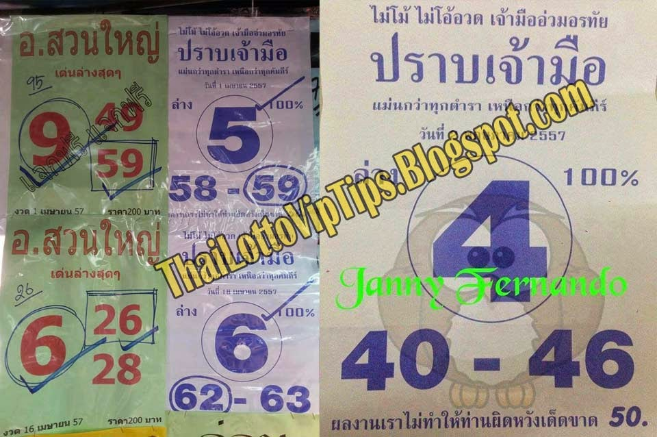 Thai lottery Down Tip paper 02-05-2014