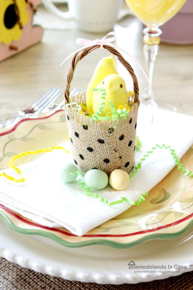 burlap ribbon peeps basket in Easter tablescape
