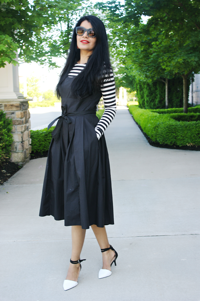 Full skirts, 50s style midi dress, Retro Style Dress, eShakti black dress, Zara Two Tone Pumps