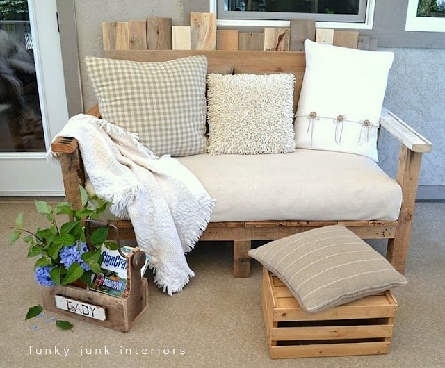 pallet wood reclaimed lumber outdoor furniture sofa Funky Junk Interiors