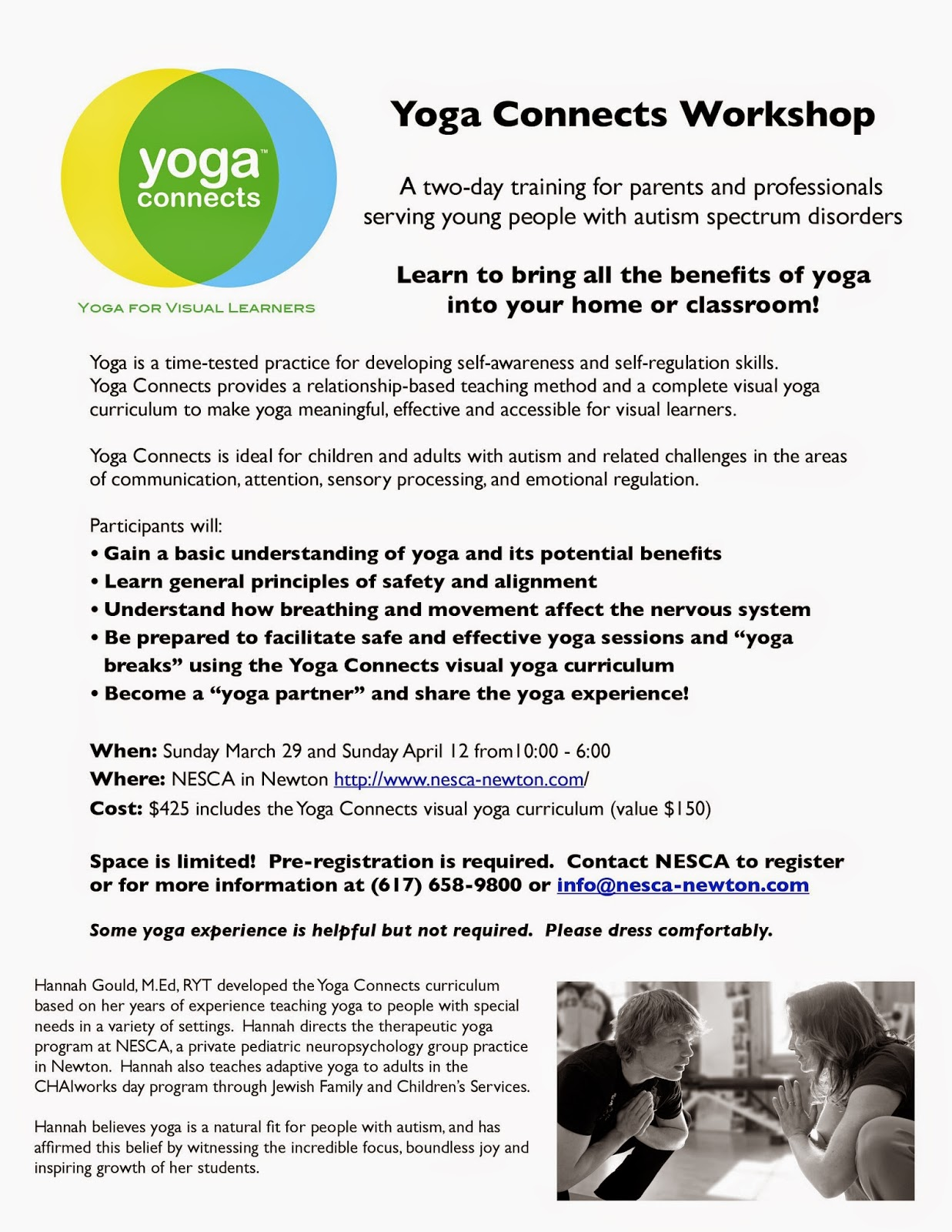 Yoga Connects 2 Day Training With >> Nesca News Notes Yoga Connects 2 Day Training At Nesca Sundays