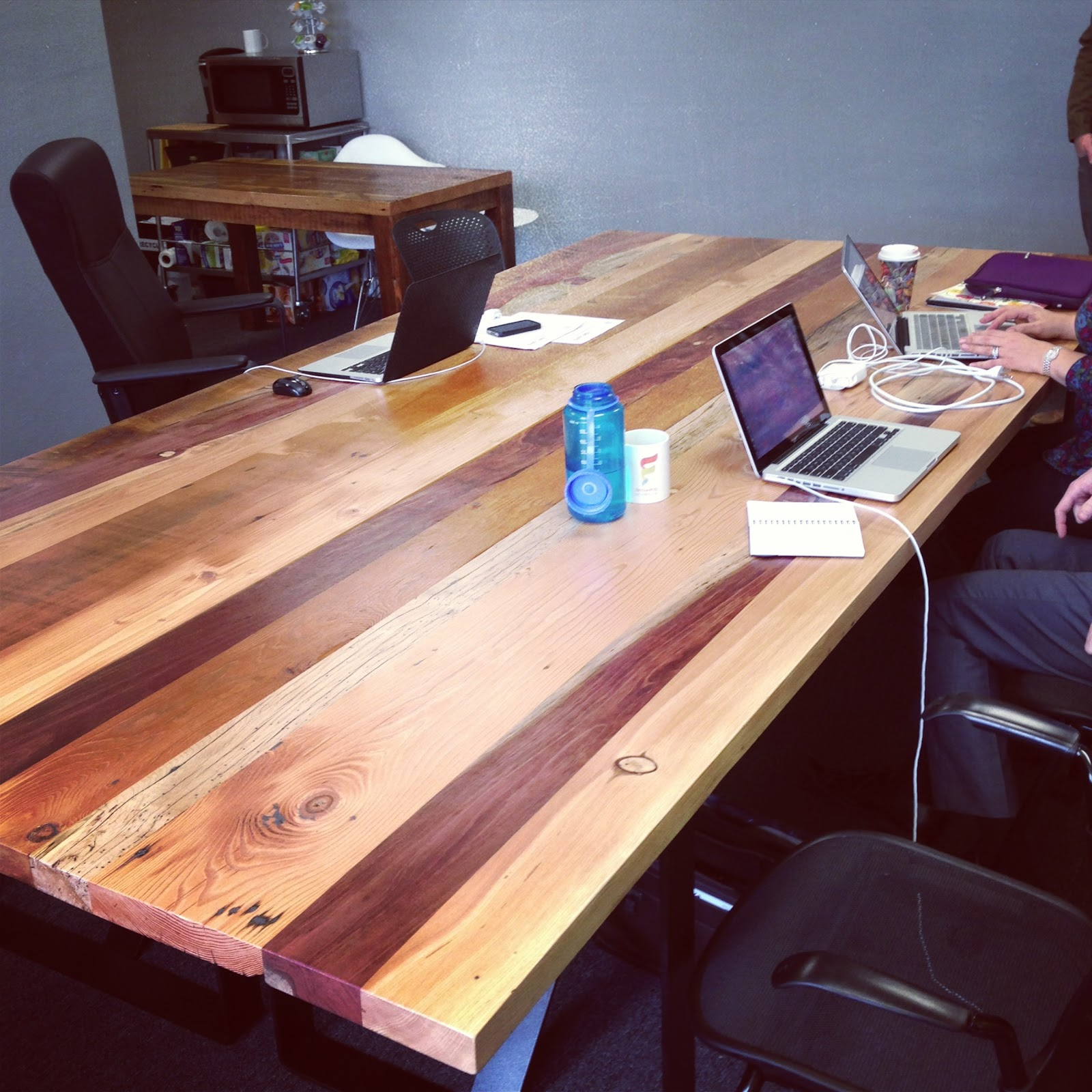 Reclaimed wood conference tables - You Can See The Table Put Together In The Last Picture This Patchwork Table Features Redwood And Cedar From Slabs And Maple And Doug Fir From Boards