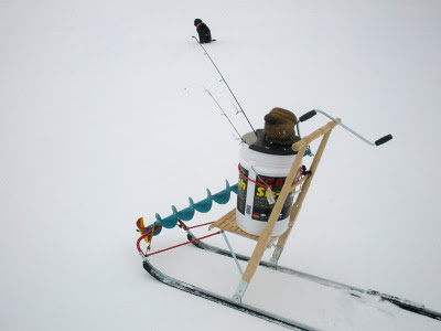 kicksled with icefishing gear