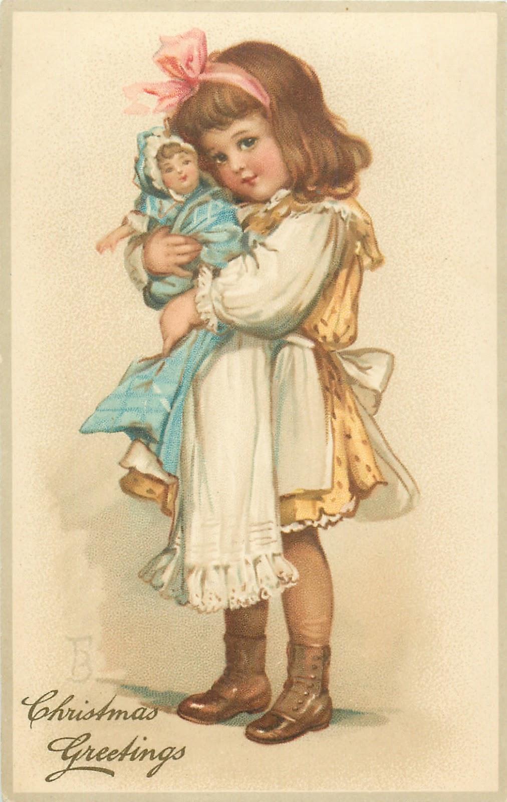 Девочка с куклой открытка 76