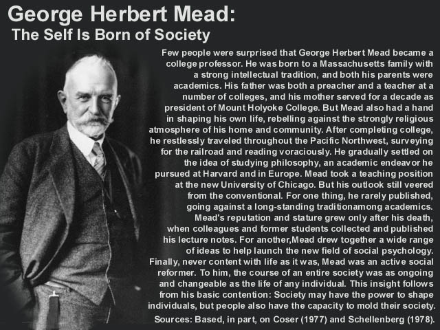 george herbert mead erving goffman Mead: covert aspects blumer: similar to mead but also included other forms of  psychological reductionism george herbert mead mind, self  erving goffman.