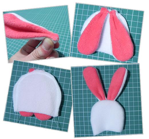 Как сшить шапку с ушками зайца для куклы 28