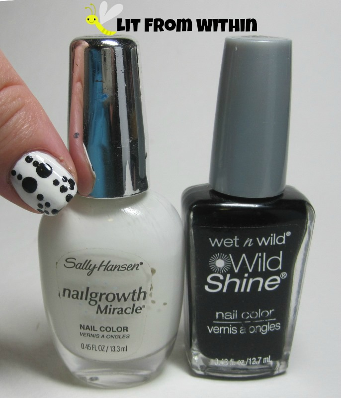 Bottle shot:  Sally Hansen White Tip (mixed with Revlon Spirit) and Wet 'n Wild Black Creme