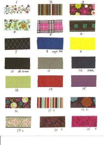Ribbon choices for headbands