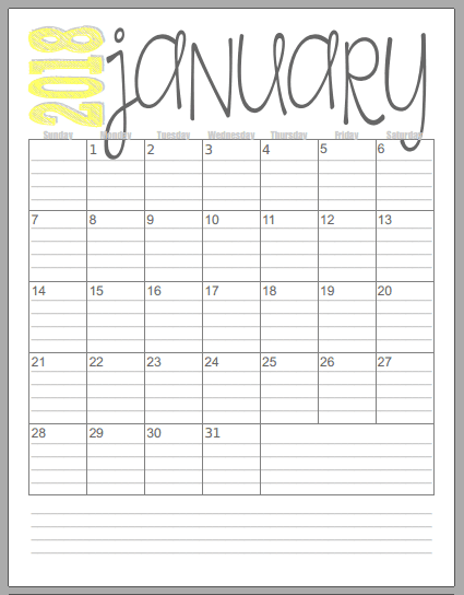 Musings of an Average Mom: 2018 Vertical Calendars