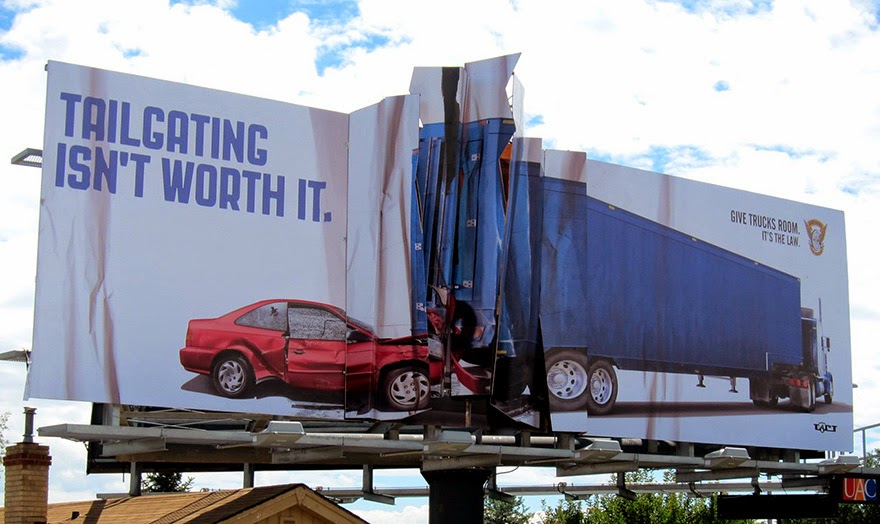 40 Of The Most Powerful Social Issue Ads That'll Make You Stop And Think - Tailgating Isn't Worth It. Give Trucks Room