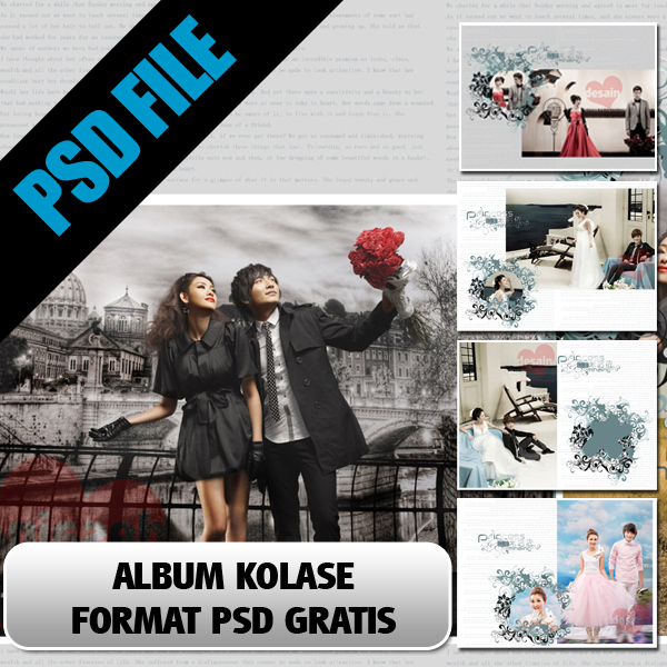 Download Pre Wedding Album Kolase Gratis Format Psd Cinta Desain