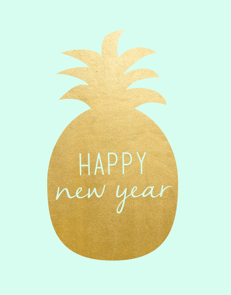 free printable happy new year gold pineapple