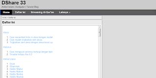 Cara membuat daftar isi postingan di blog