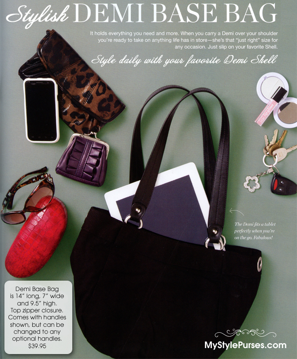 "Demi Base Bag is 14"" long, 7"" wide and 9.5"" high - Fits a tablet perfectly!  Shop Miche Demi Base Bag and Demi Shells"