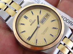 OMEGA CONSTELLATION GOLD DIAL GOLD FLUTE BEZEL - TWO TONE GOLD SS BRACELET - AUTOMATIC CAL 1020