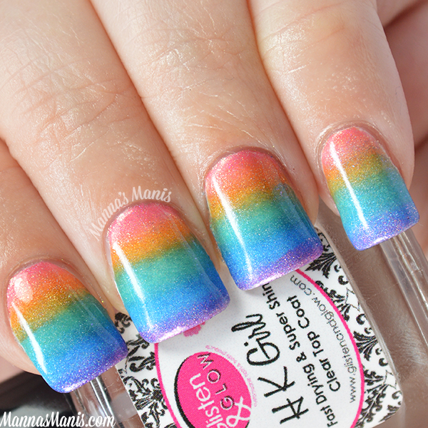 Holographic rainbow gradient nail art