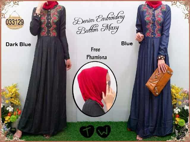 Denia Maxi Denim Bordir