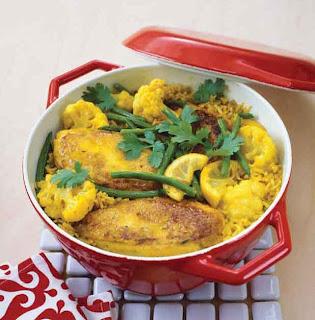 Spiced chicken and cauliflower pilaf