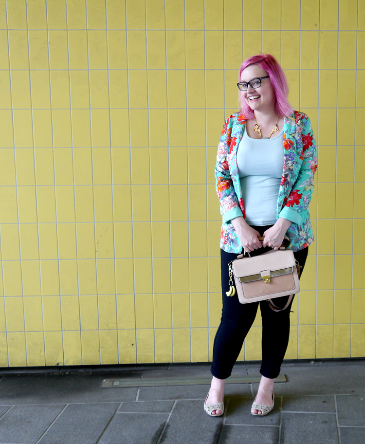 scotstreetstyle, Onward, tropical, Scottish bloggers, pink hair, DIY, Karen Mabon jewellery, Karen Mabon scarf, fruit, Scottish style