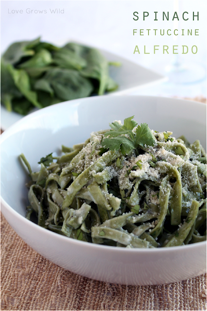 Spinach Fettuccine Alfredo by Love Grows Wild for Sumo's Sweet Stuff #recipe