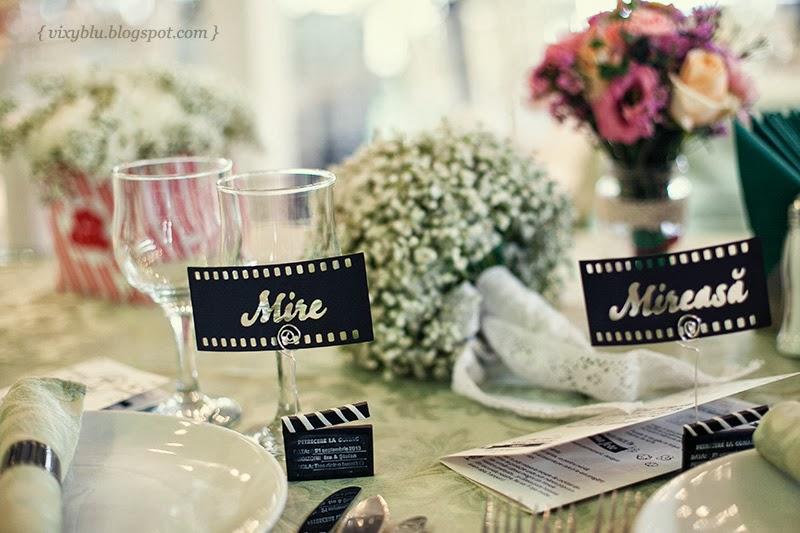 place card mireasa film, tema cinema nunta
