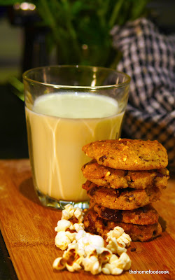 thehomefoodcook - Caramel Popcorn and Pecan Choc Chip Cookies