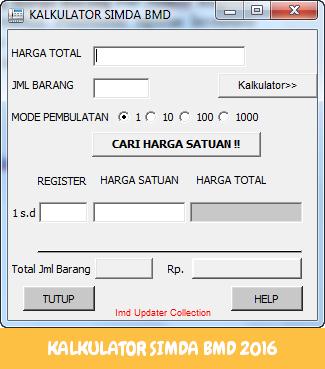 KALKULATOR SIMDA BMD 2016 - Aplikasi Penghitung Harga Barang Per Nomor Register