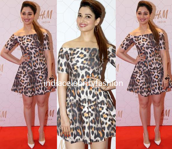 Tamannah bhatia in H&M Animal print dress