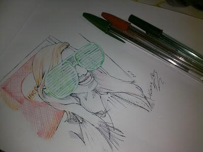 Tiana Malvar com óculos - caneta esferográfica by Fabrício Sant'Ana